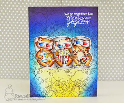 We Go Together Like Movies & Popcorn Card by Samantha Mann for Newton's Nook Designs, ink blending, distress inks, movies, popcorn, 3d glasses, #newtonsnookdesigns #handmadecard #cards #cardmaking #inkblending