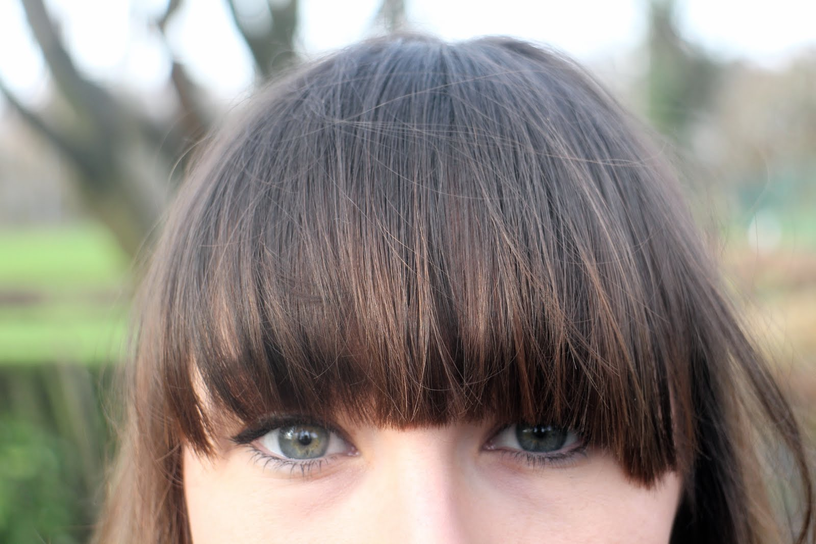 Close up of a full fringe hairstyle