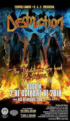 POSTER Concierto de DESTRUCTION en Bogotá