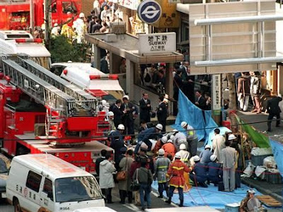 The sarin gas attack on the Tokyo subway system on March 20, 1995 killed 13 and left more than 6,000 injured.