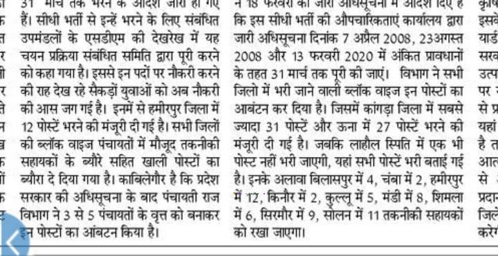 HP Panchayati Raj Recruitment 2020