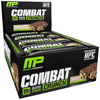 الواح البروتين من اي هيرب Muscle Pharm, Combat Crunch, Chocolate Chip Cookie Dough, 12 Bars, 63 g Each