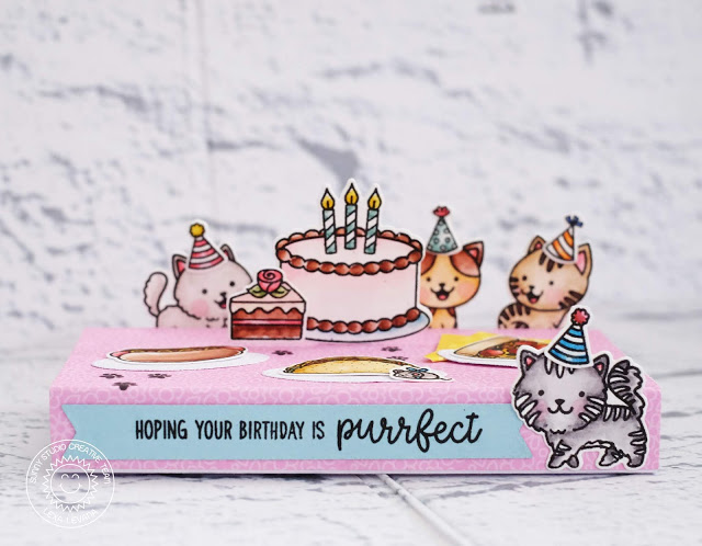 Sunny Studio Stamps: Make A Wish Purrfect Birthday Fast Food Fun Birthday Card by Lexa Levana