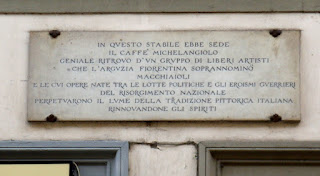The plaque outside 21 Via Cavour in Florence marks the site of the Caffè Michelangiolo