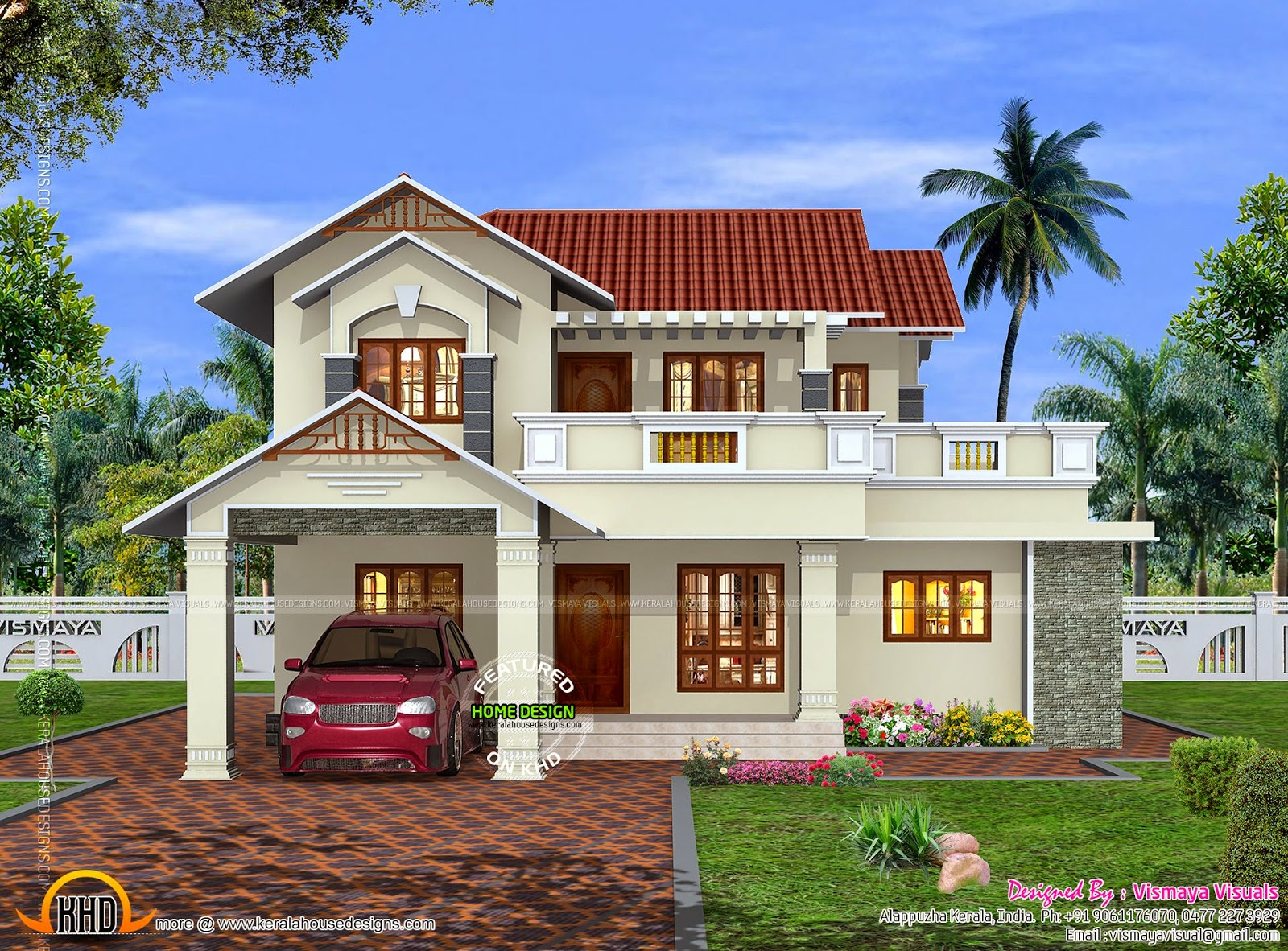Kerala home beautiful exterior kerala home design and for Normal home front design