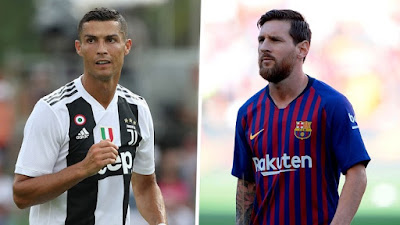 Barcelona's Lionel Messi and Cristiano Ronaldo of Juventus