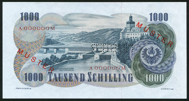 Austria money currency 1000 Austrian Schilling euro banknote