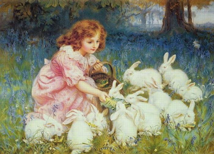 Alimentando os Coelhos - Frederick Morgan e suas pinturas ~ Pintor de cenas da infância