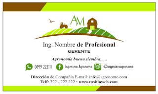Tarjetas de visita para ingeniero agrónomo