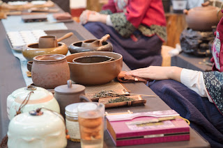 Details of a tea ceremony in Guilin China. This image shows the tea preparations.