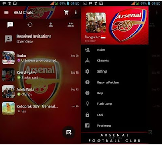BBM Mod Tema Sepak Bola Arsenal V2.13.0.22 Apk  Gratis Terbaru