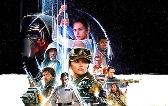 Diseño que une a los personajes de El despertar de la fuerza y Rogue One, con las actrices en el centro (Daisy Ridley arriba, Felicity Jones abajo)