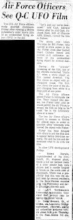 Air Force Officers See Q-C UFO Film – Times-Democrat 3-11-1967