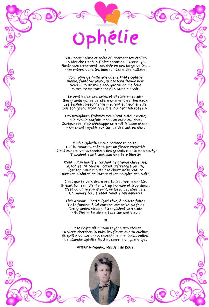 Ophélie, poème d'Arthur Rimbaud