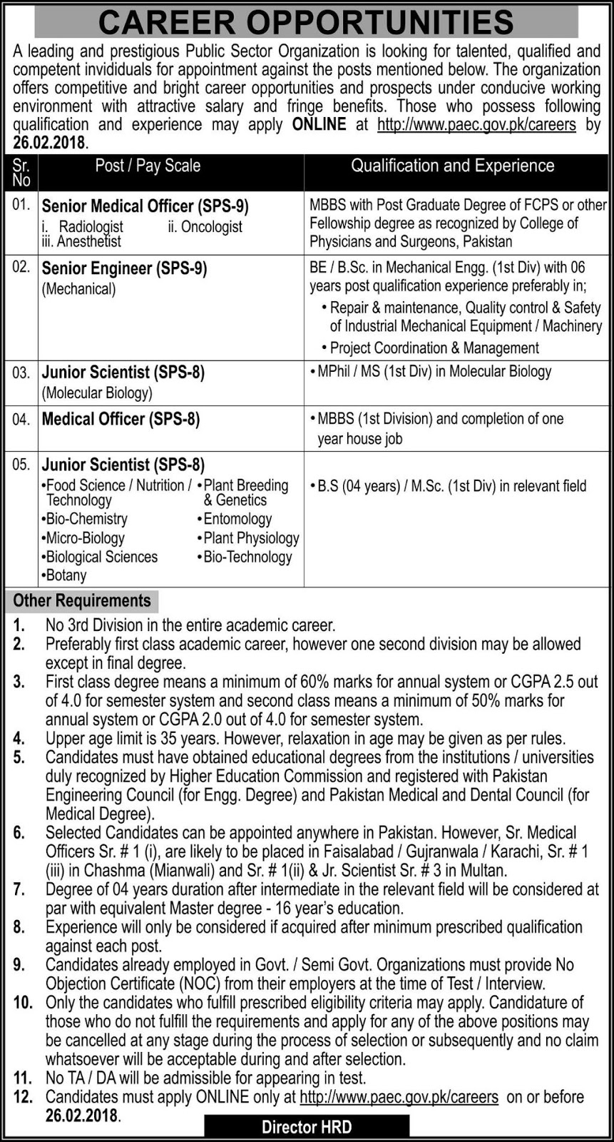 Jobs In Pakistan Atomic Energy Commission Islamabad 2018 for 15 Posts