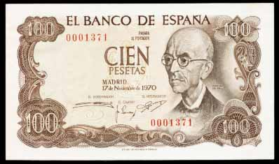 Billete de 100 pesetas (tirada de 1970)