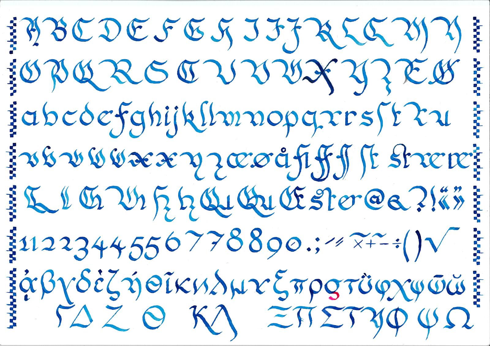 Schwabacher mollis, skrift utformet av Tor-Ivar Krogsæter, februar 2016.