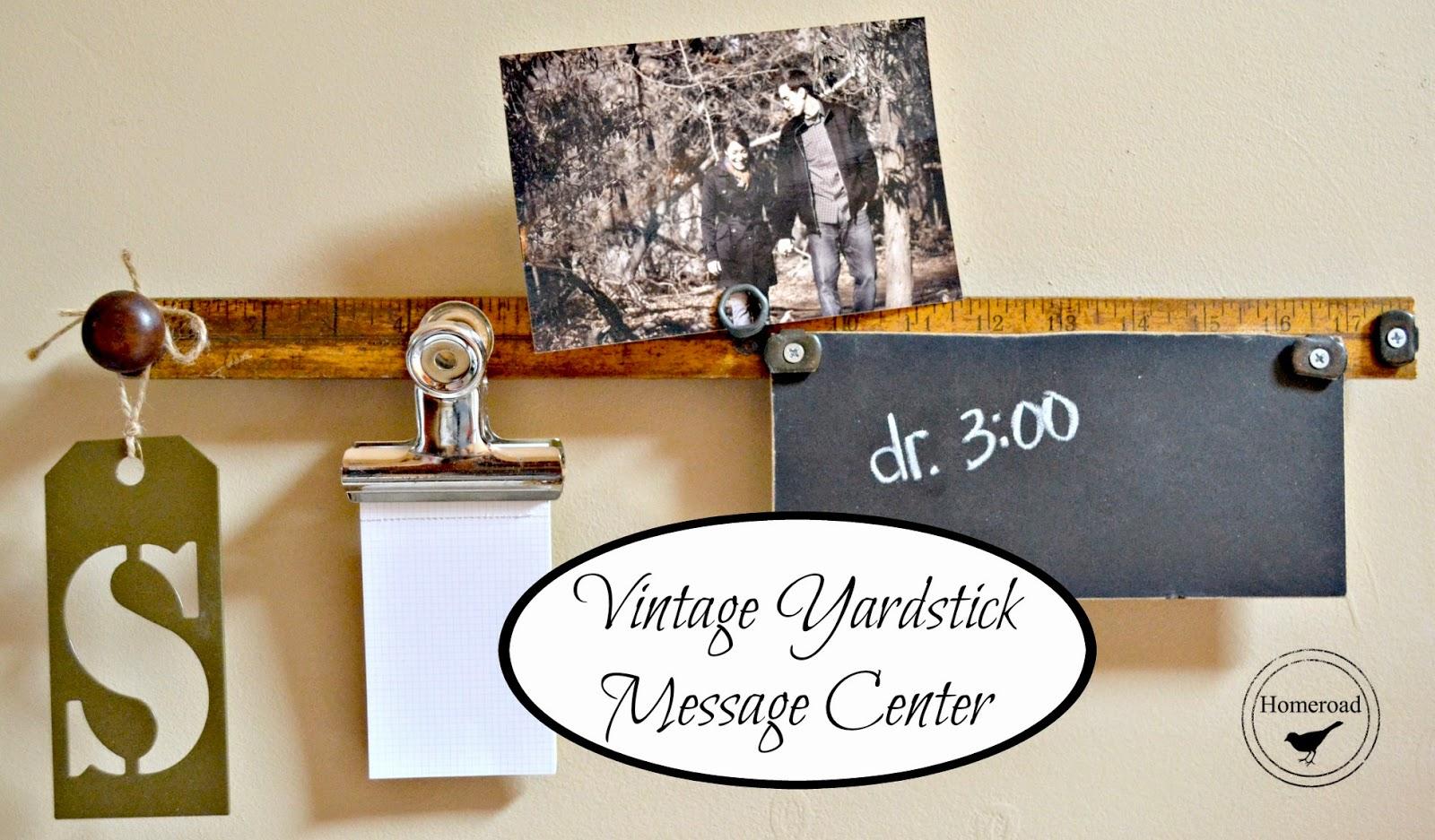 Vintage yardstick message center.