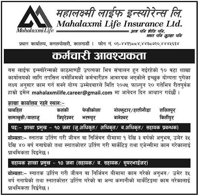 Mahalaxmi Life Insurance Limited Vacancy Notice