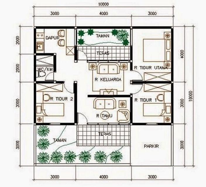 denah ruangan rumah sederhana yang unik