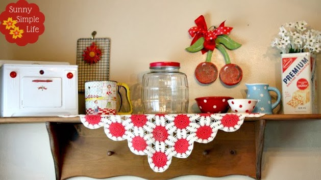 vintage kitchen shelf, Little Chef oven, vintage decor, cherries