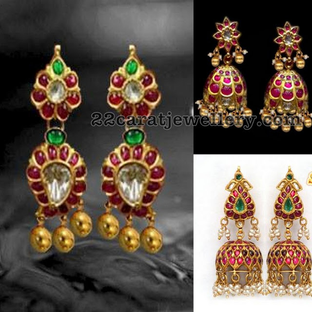 Simple Ruby Jhumkas With Gold Balls