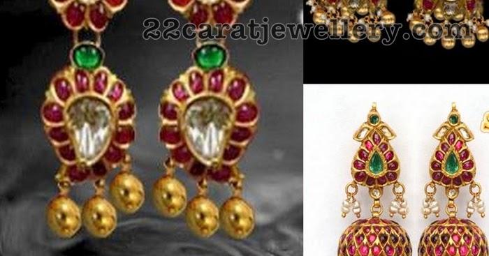 c5b409b4460aa Simple Ruby Jhumkas With Gold Balls - Jewellery Designs
