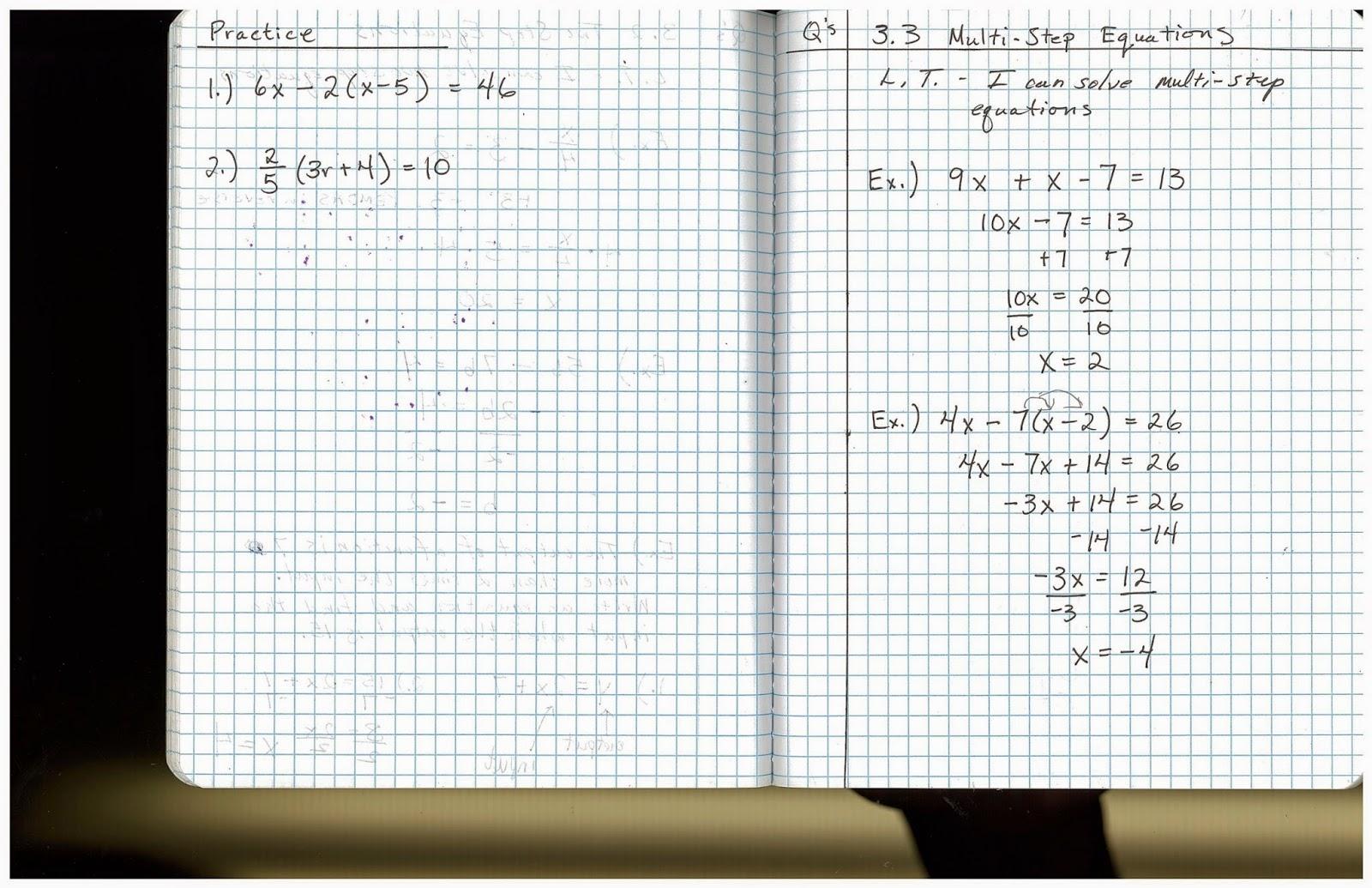 Heidemann 8th Grade Math Algebra 1 Notes 8 26