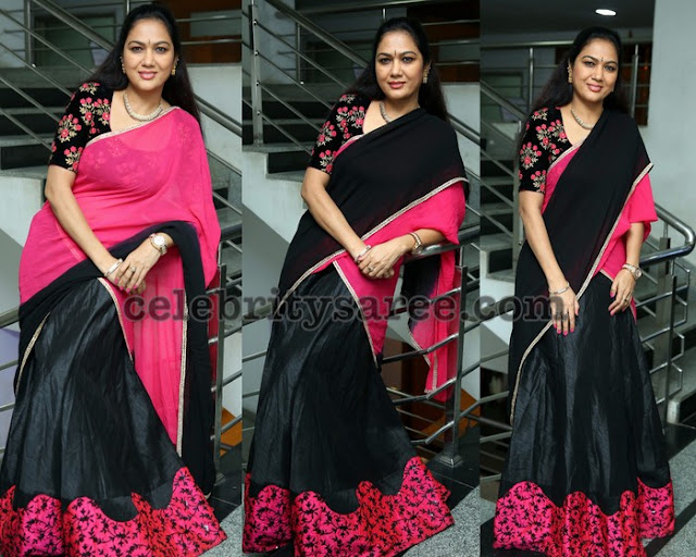 Hema Black Pink Silk Half Saree