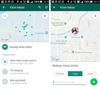cara share real time lokasi di whatsapp