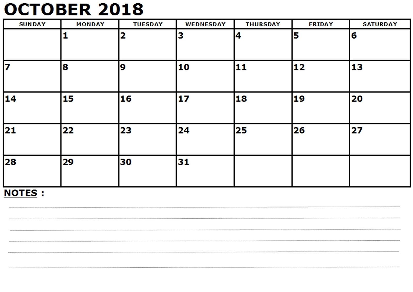 blank calendar october 2018 printable