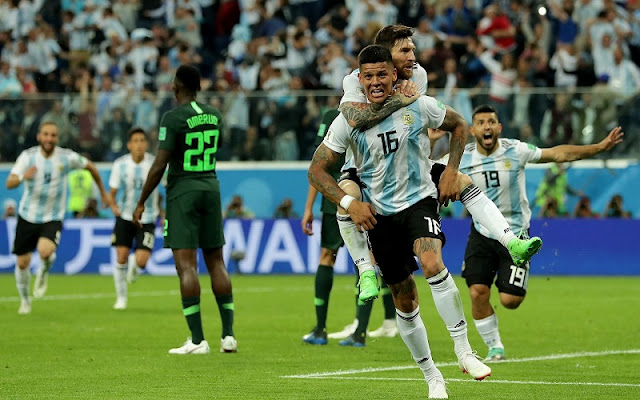 Nigeria vs Argentina [1:2] - Marcos Rojo saves Argentina's FIFA World Cup 2018 dream with late winner to send Nigeria home