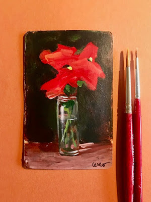#25 Flower mini oil painting