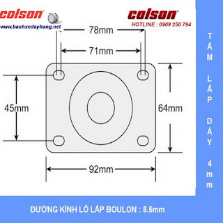 Kích thước đẩy chuyển hướng càng Inox 304 Colson 4 inch | 2-4456-254 sử dụng ổ nhựa Delrin