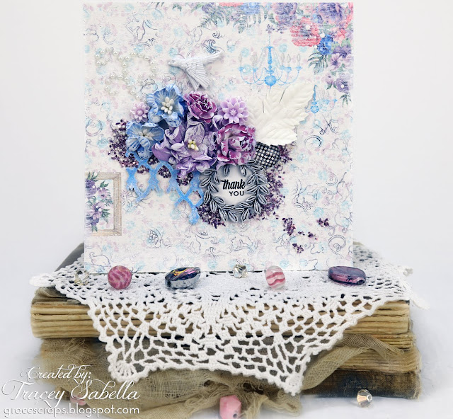 Tracey Sabella Mixed Media Card for ScrapBerry's, Blue Fern Studios Chipboard, Prills - http://bit.ly/2CFxRdG