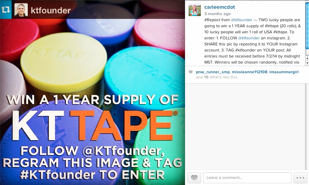 Enter to win a 1 year supply of KT Tape