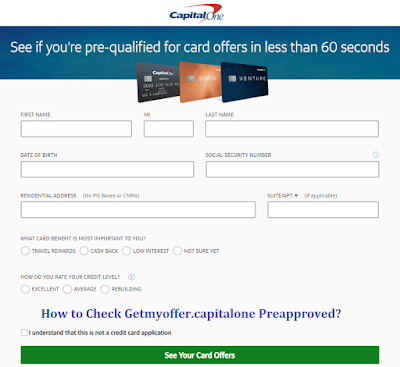 Getmyoffer.capitalone.com pre approved credit card offers