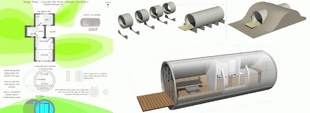 墨西哥州 Tepoztlán 酒店 和奧地利酒店的水管屋設計圖和設計概念