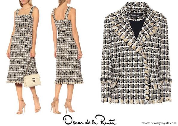 Queen Maxima wore OSCAR DE LA RENTA Cotton and wool blend tweed dress and jacket