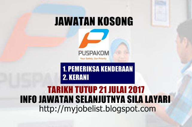 Jawatan Kosong PUSPAKOM Sdn Bhd Julai 2017