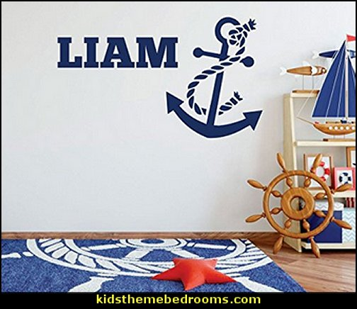 Anchor Wall Decal  Ship's Wheel wall decorations Little Sailor playroom furniture  nautical baby bedroom decorating ideas - nautical nursery decor - nautical baby room accessories - nautical nursery bedding - girls nautical nursery - boys nautical nursery - nautical rugs - anchor nursery decor - ship wheel decor - nautical nursery wall decals