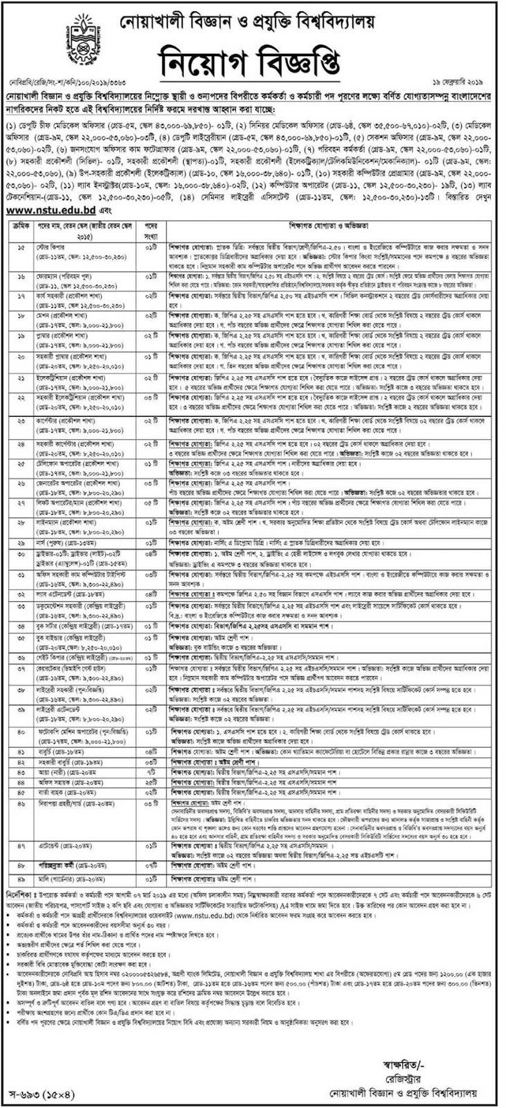 Noakhali Science and Technology University (NSTU) Job Circular 2019