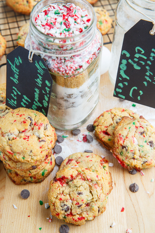 Peppermint Candy Cane Chocolate Chip Cookies in a Jar