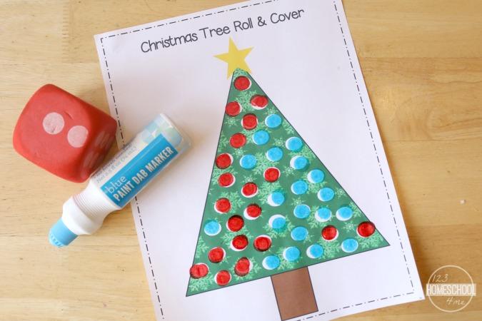 FREE Christmas Tree Math: Roll & Cover
