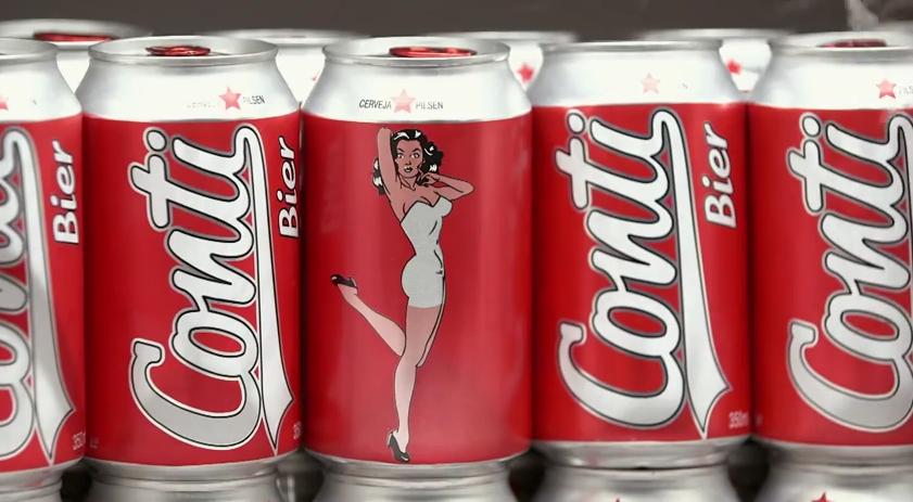diseño de lata de la cerveza conti estilo pin up