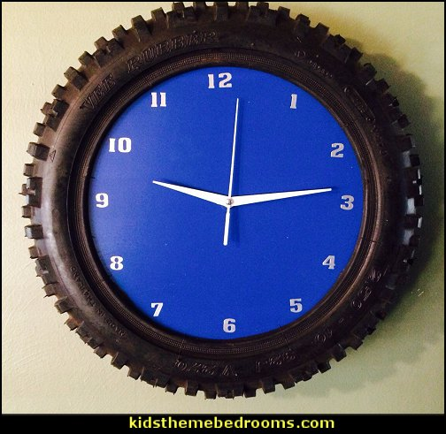 dirtbike tire clock  Motocross bedroom ideas - Dirt bike room decor - Dirt bike wall art - Motocross bedding - flame theme decorating ideas - dirt bike room stuff - dirt bike themed rooms - motocross room decor -