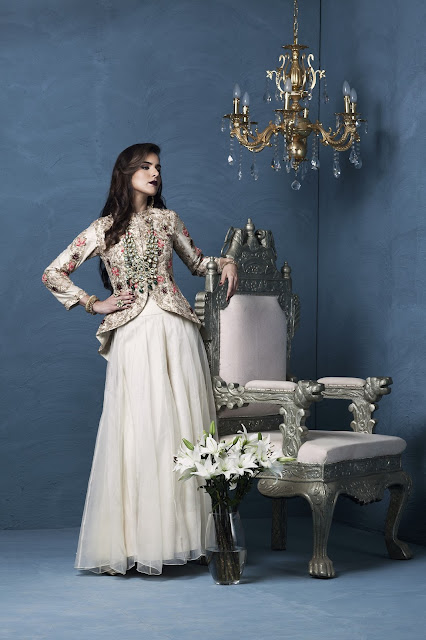 A structured and made to fit fully embroidered Victorian jacket by Designer Rashi kapoor