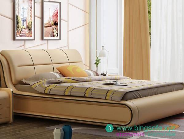 Mẫu giường bọc da kiểu châu âu sang trọng