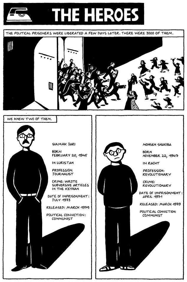 Read Chapter 7 - The Heroes, page 45, from Marjane Satrapi's Persepolis 1 - The Story of a Childhood