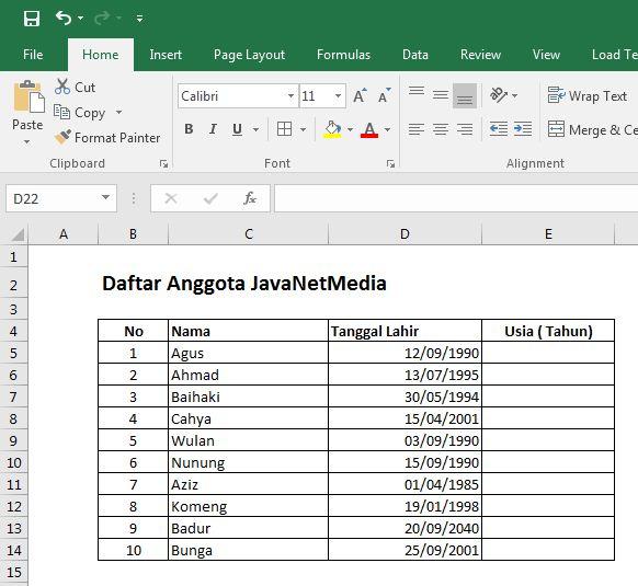 Rumus Menghitung Usia Otomatis Dengan Excel 2016